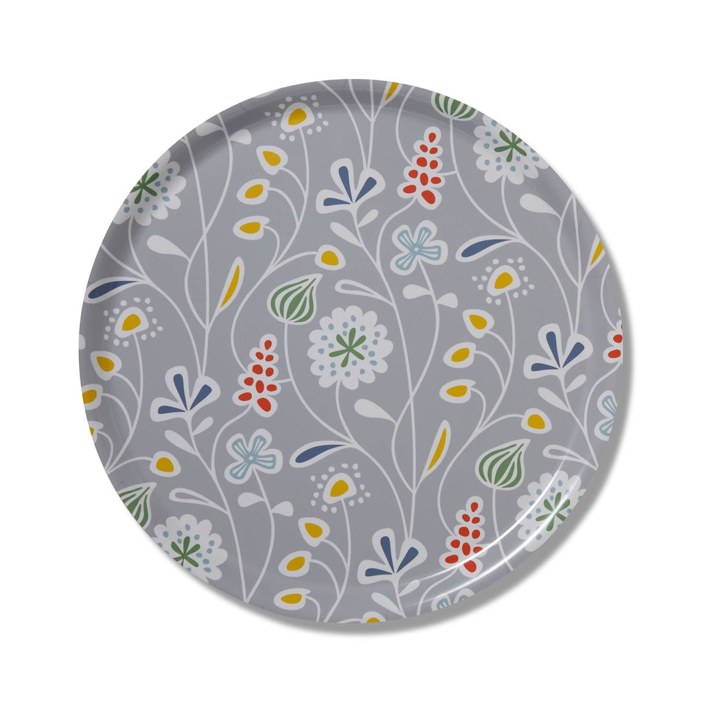 Swedish Laminated Tray - Flower Meadow Round - Grey