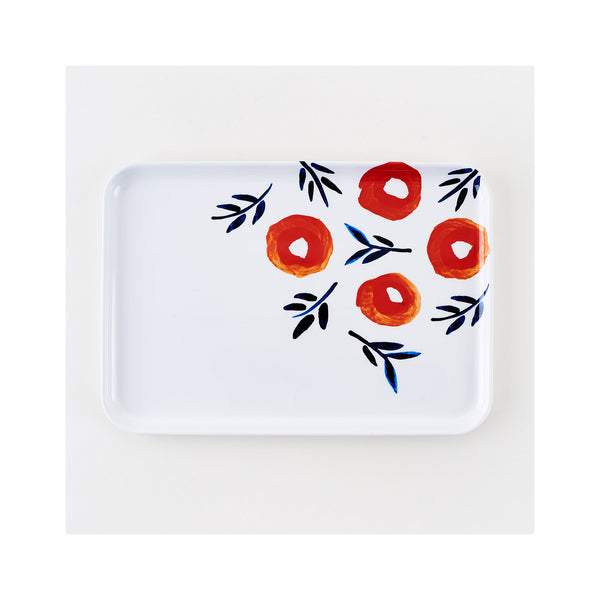 Poppy Melamine Rectangular Tray