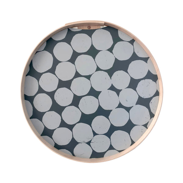 PilgrimWaters Handcrafted Round Tray - White Dot on Grey