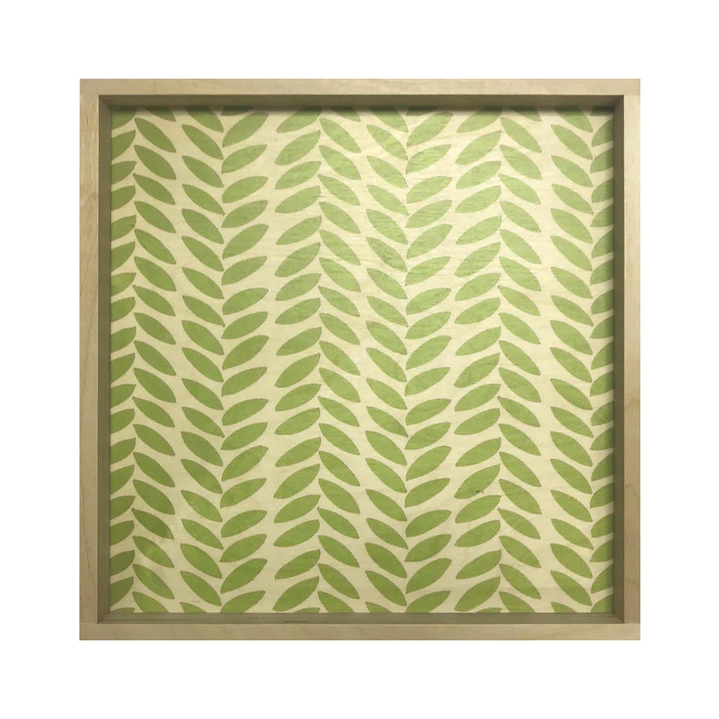 LAMOU Baltic Birch Printed Serving Tray - Linear Leaves -  Pistachio