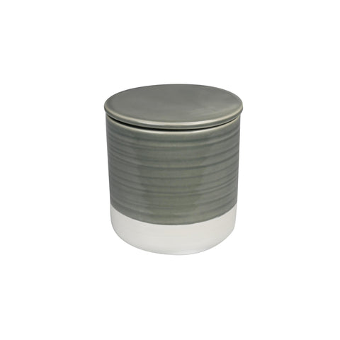 Stoneware Container - Grey & White - Medium