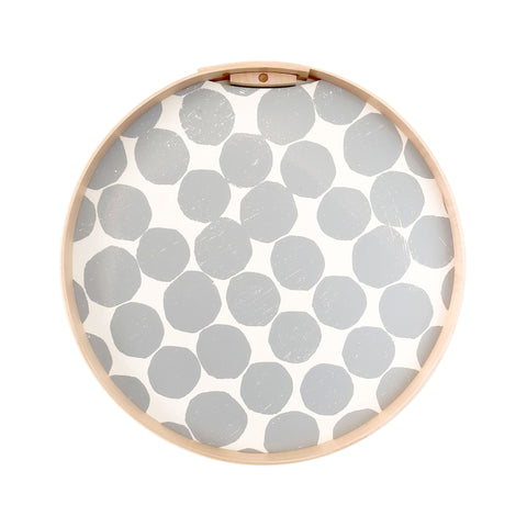 PilgrimWaters Handcrafted Round Tray - Grey Dot on White