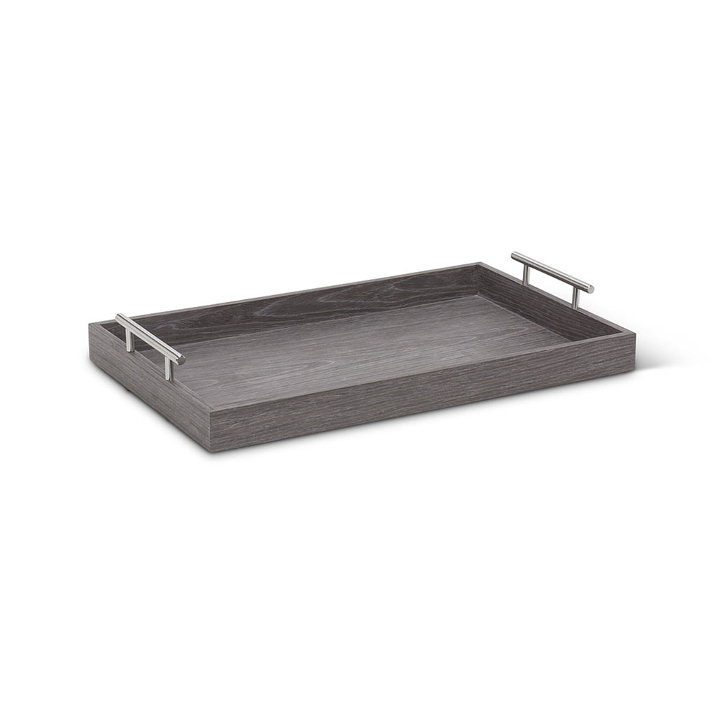 Wooden Butler Tray with Handles - Charcoal