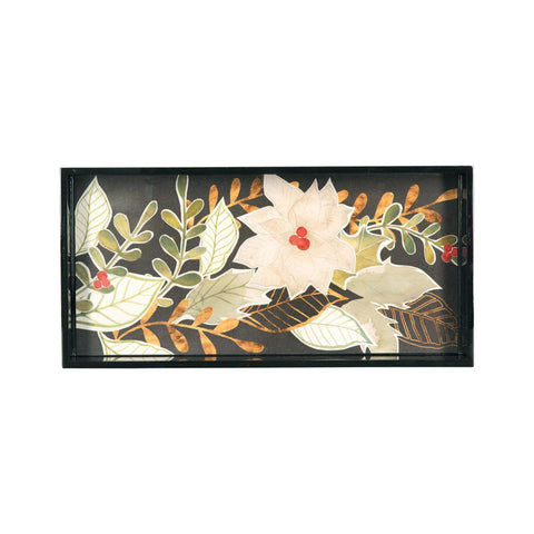 White Poinsettias Art Tray