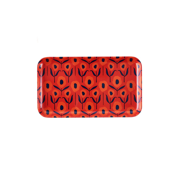 Poppy Rectangle Melamine Trays - Small - Red