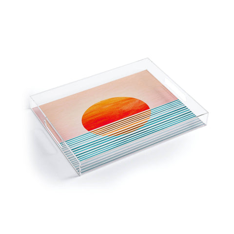 Abstract Acrylic Tray - Minimalist Sunset