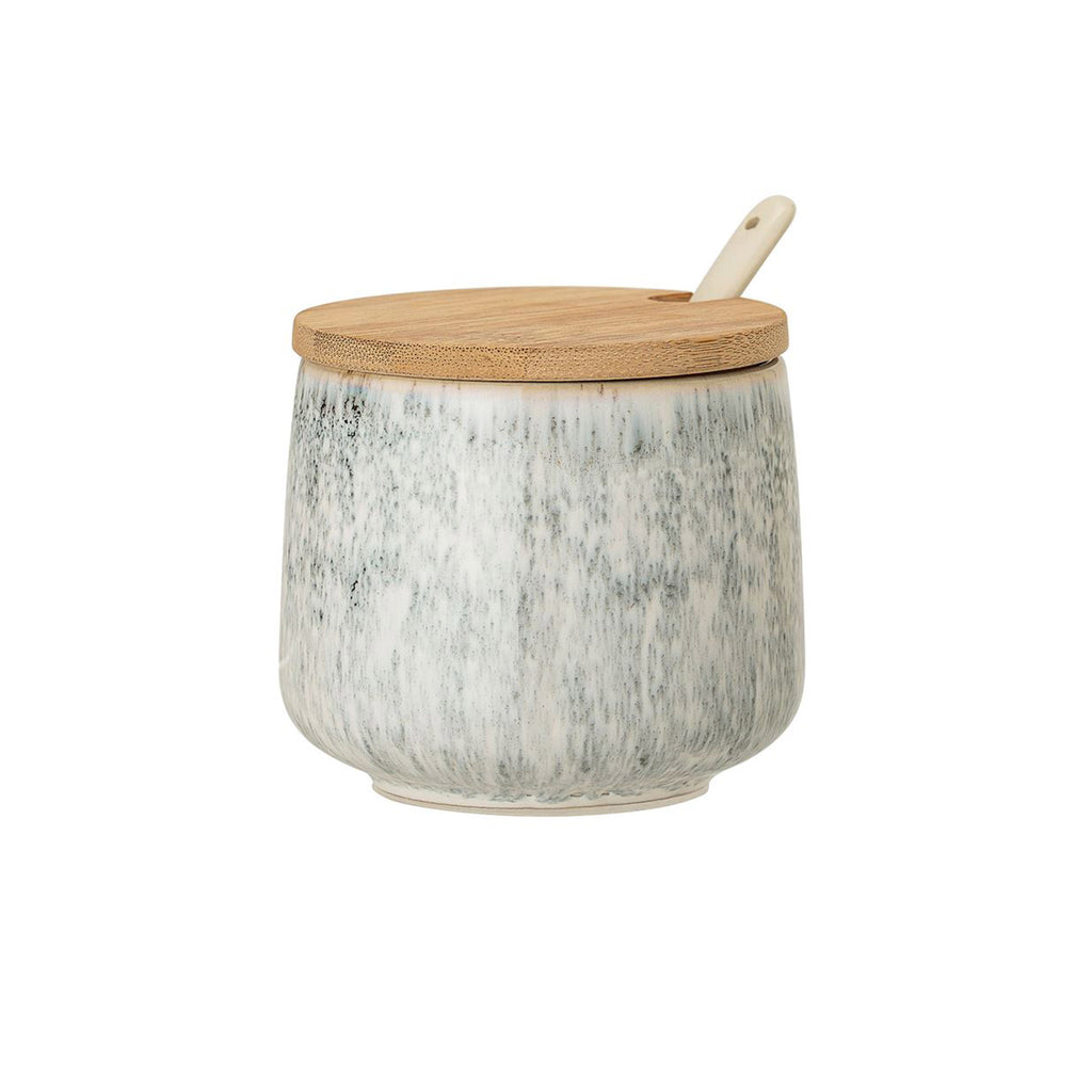 Stoneware Jar with Bamboo Lid & Spoon - Marbelized