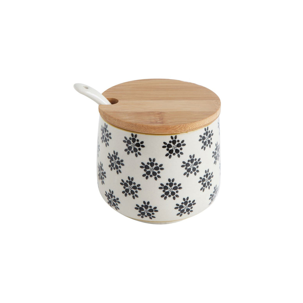 Hand-stamped Floral Stoneware Jar with Bamboo Lid & Spoon