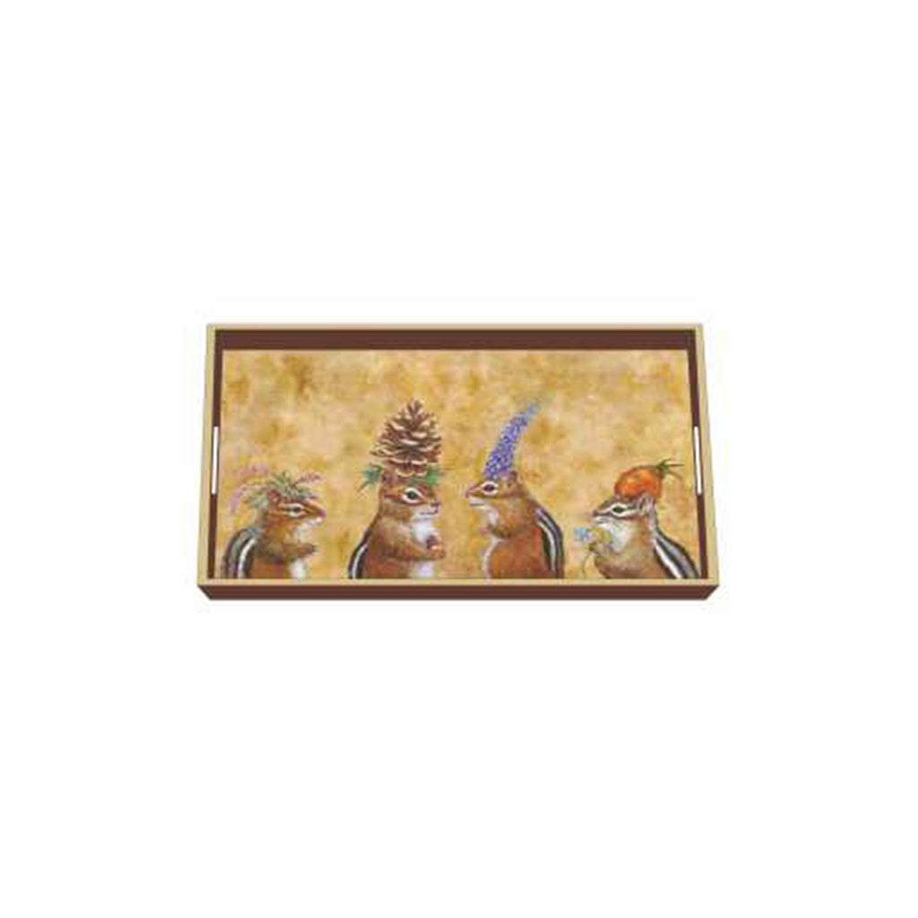 Chipmunk Social Wooden Tray