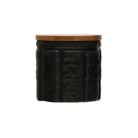 Black Stoneware Canister with Bamboo Lid