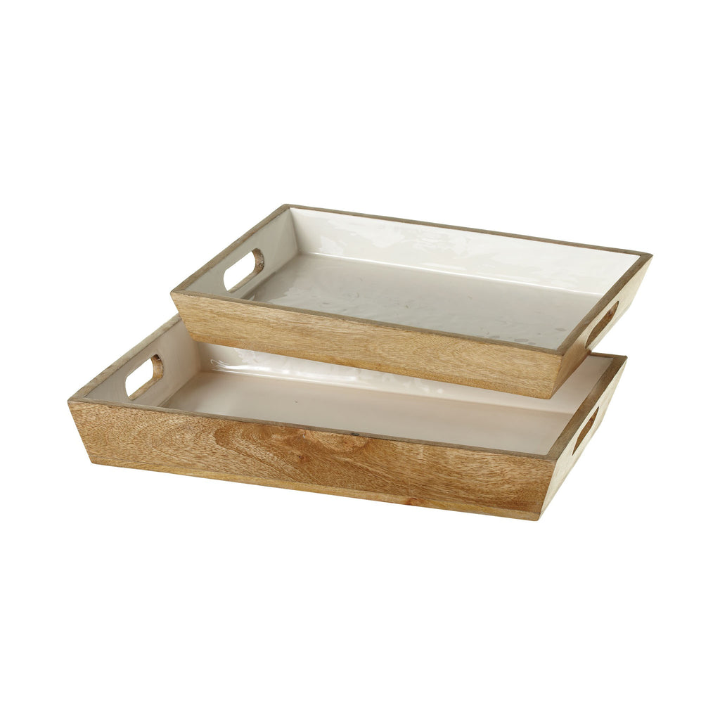 Mango Wood Serving Trays with Enamel Inlay