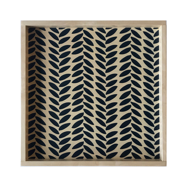 LAMOU Baltic Birch Printed Serving Tray - Linear Leaves - Indigo