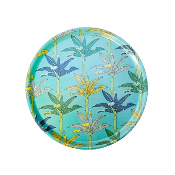 South African Melamine Round Tray - Blue Palms