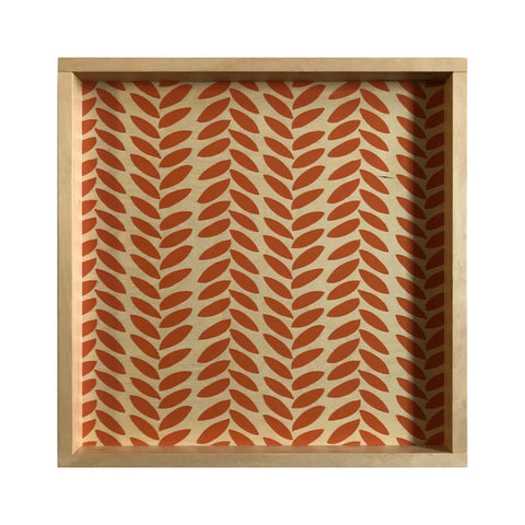 LAMOU Baltic Birch Printed Serving Tray - Linear Leaves -  Tangerine