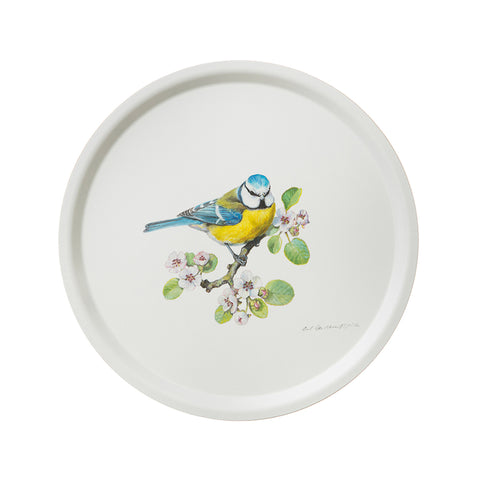 Birch Veneer Round Serving Tray- Blue Bird