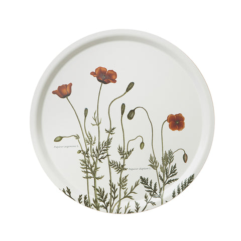 Birch Veneer Round Serving Tray- Poppies