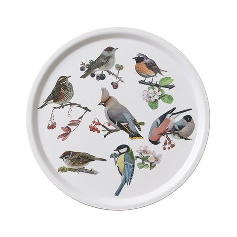 Birch Veneer Round Serving Tray- Garden Birds