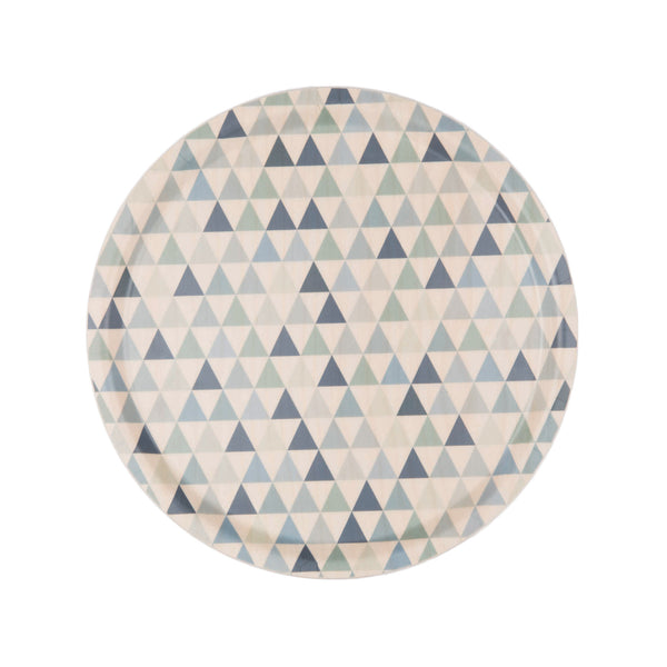 Swedish Laminated Birch Round Tray - Triangles