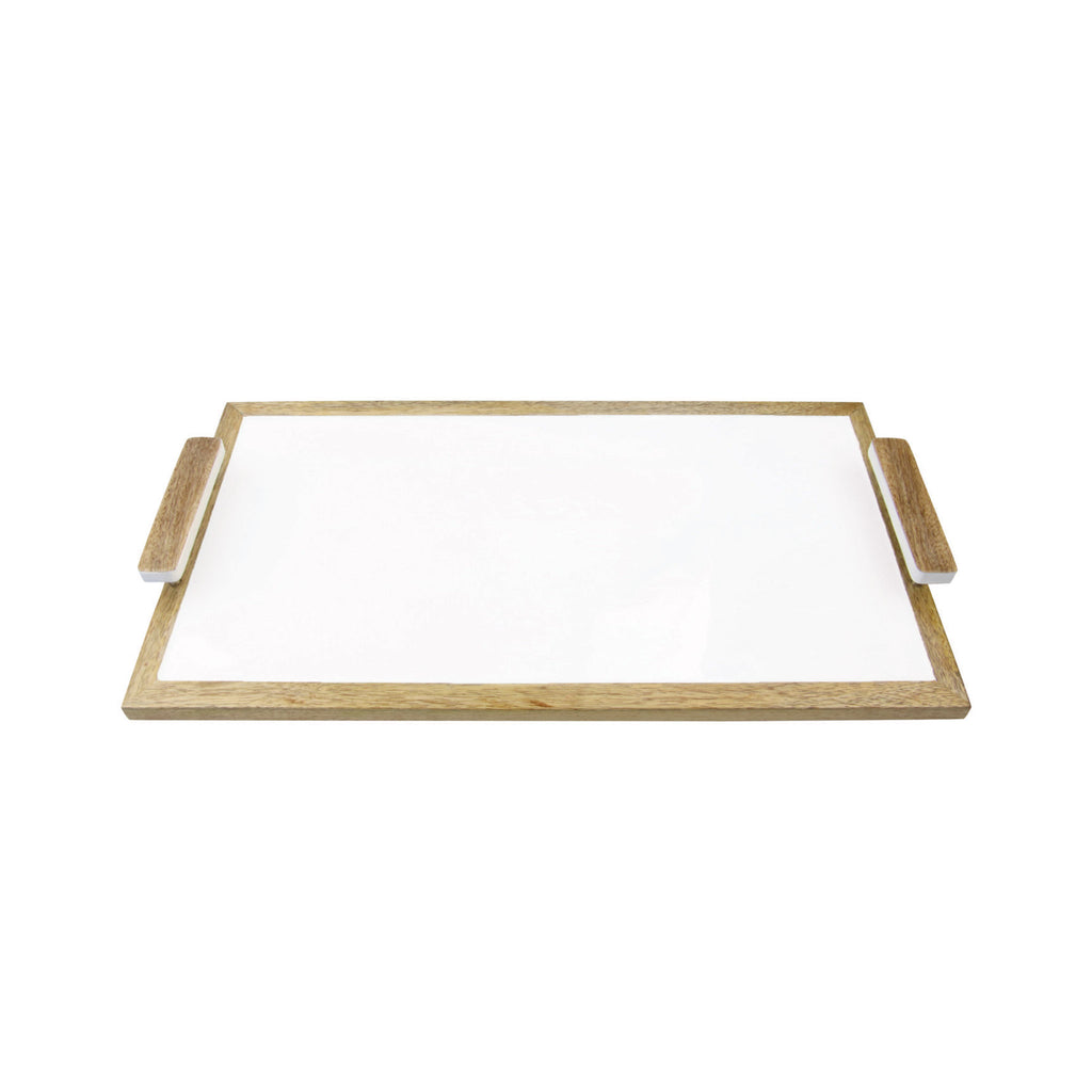 Mango Wood & White Enamel Tray
