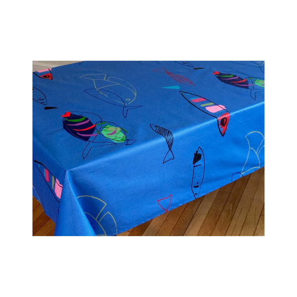 Acrylic-coated French Tablecloth - Fish Blue