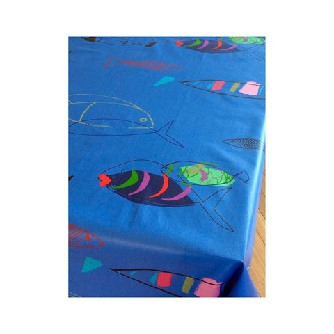 Acrylic-coasted French Tablecloth - Fish Blue closeup