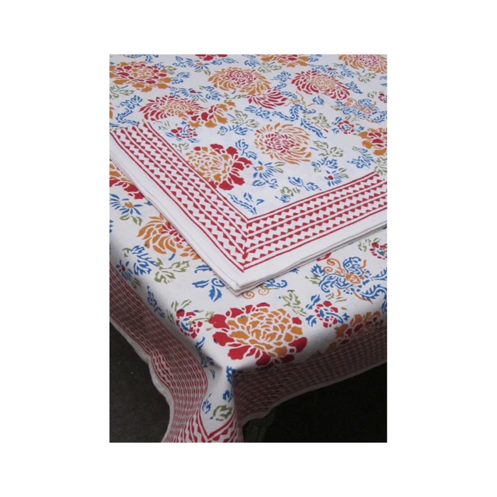 Block Printed Tablecloth -Canton Flower
