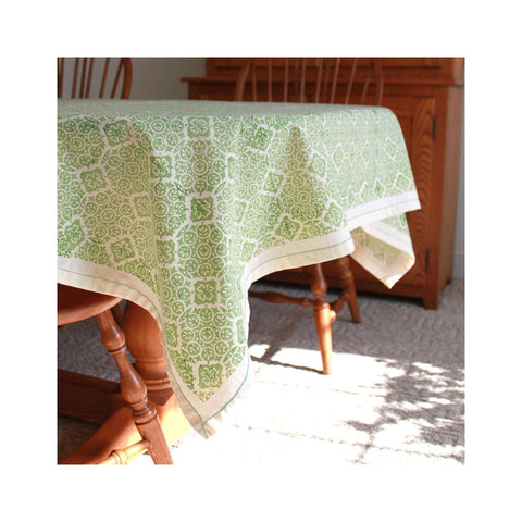 Block Printed Cotton Tablecloth - Sage Mosaic