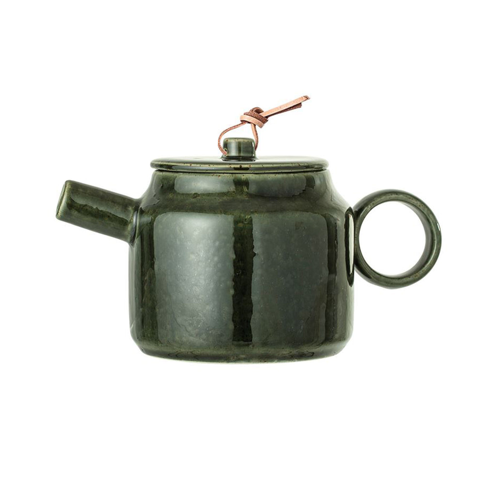 Stoneware Teapot with Leather Tie