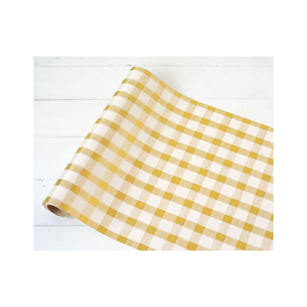 Gold Painted Check Paper Runner