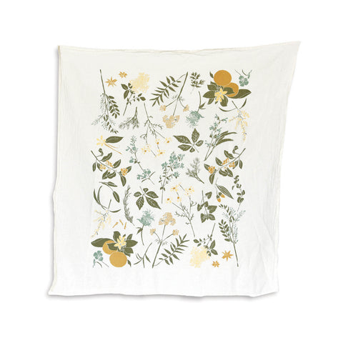 Flour Sack Tea Towel - Herbal Tea Garden