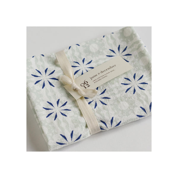 Flour Sack Tea Towel - Chickory Mint - Folded