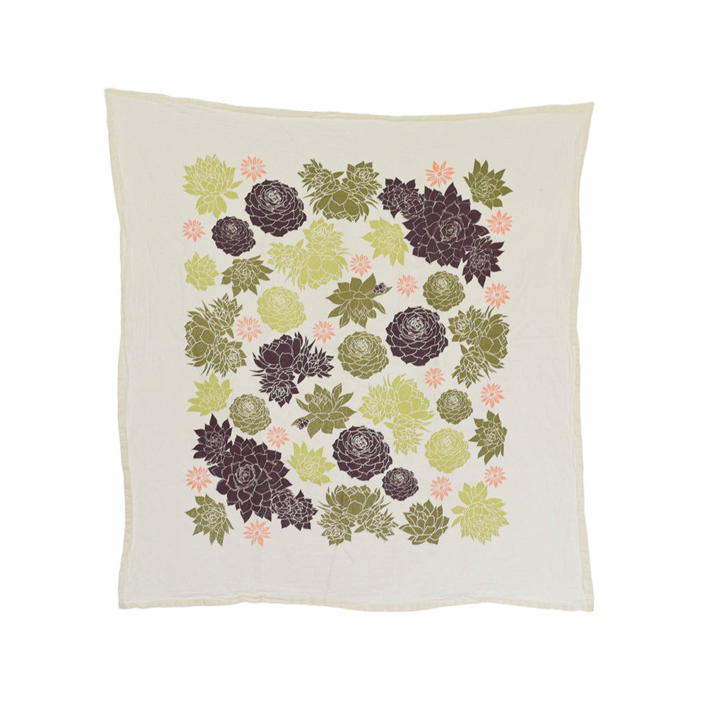 Flour Sack Tea Towel - Chicks & Hens Succulents