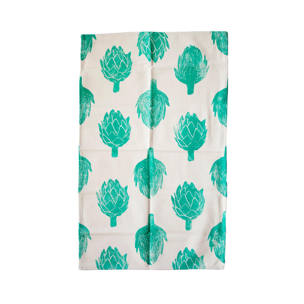 South African Hand-stamped Tea Towel - Artichokes