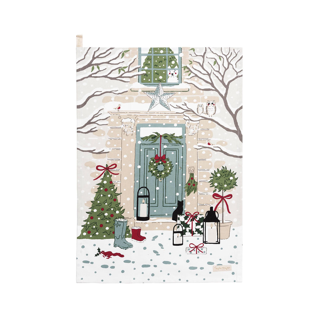 Christmas Holly & Berry Home for Christmas Tea Towel