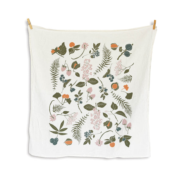 Flour Sack Tea Towel - Wild Berries & Nuts