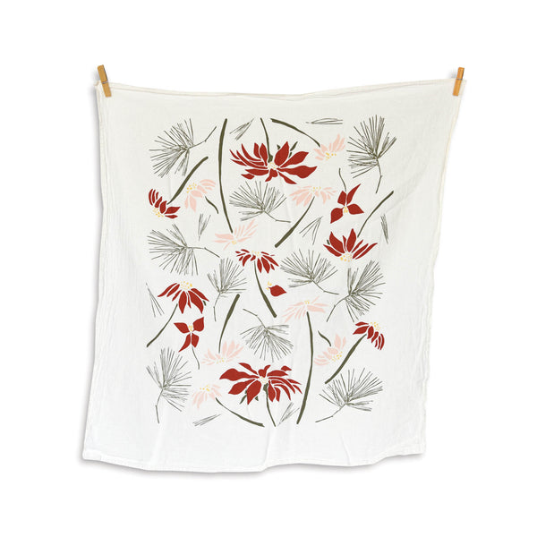 Flour Sack Tea Towel - Poinsettia & Pine