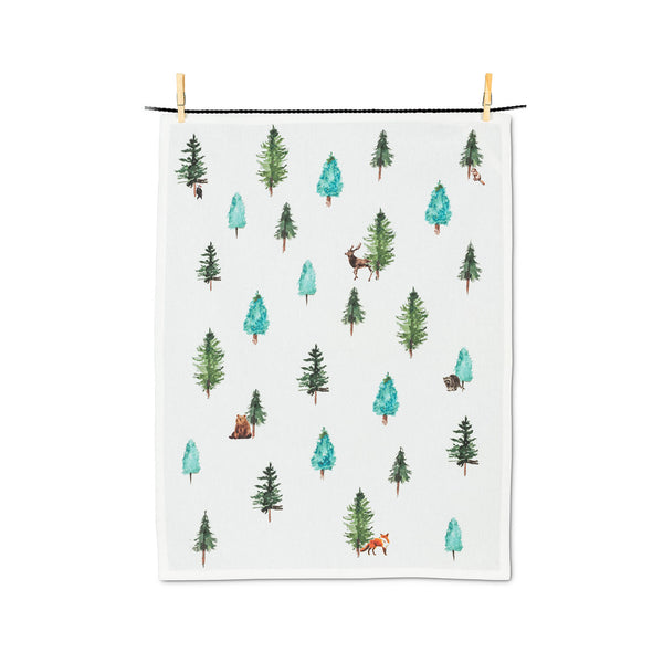 Evergreens & Animals Tea Towel
