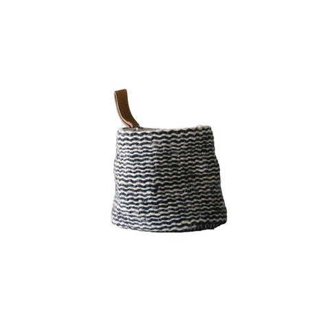 Jute Wall Basket with Leather Loop - Small