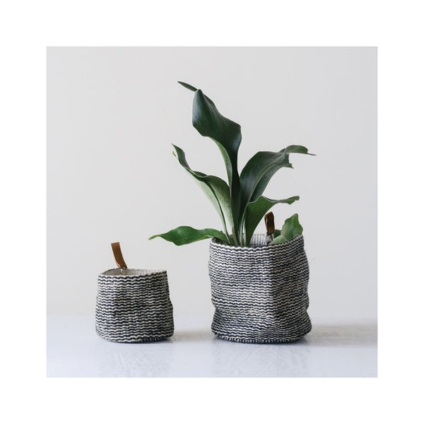 Jute Wall Baskets with Leather Loop
