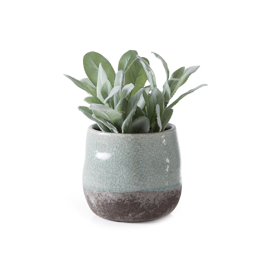 Corsica Crackle Two Tone Pot - Celadon Green
