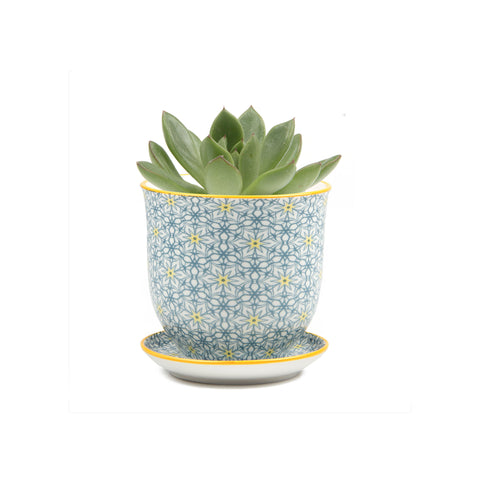 Liberte Plant Pot with Saucer - Yellow Stars 2
