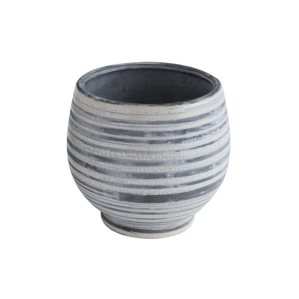 Terracotta Striped Planter - Grey & White