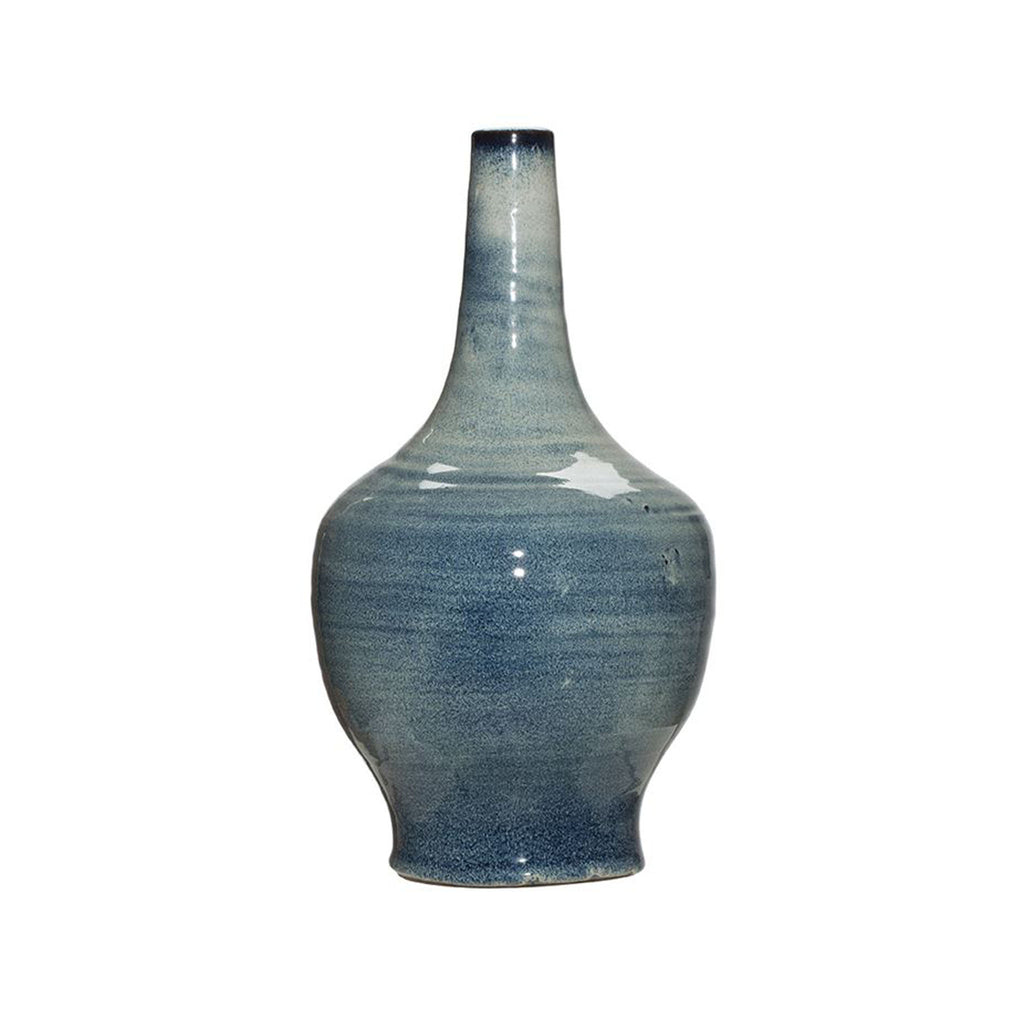 Terra-Cotta Vase with Blue Reactive Glaze - 14.5