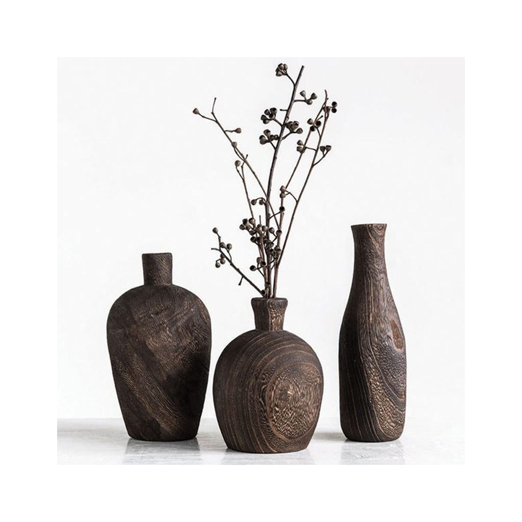 Black Charred Paulownia Wood Vases