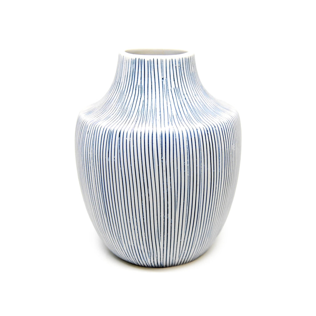 Inca Mini Vase - Blue & White Striations
