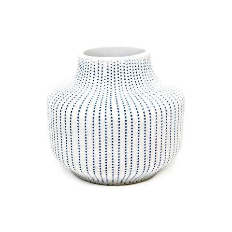 Diana Vase - White with Blue Dashes
