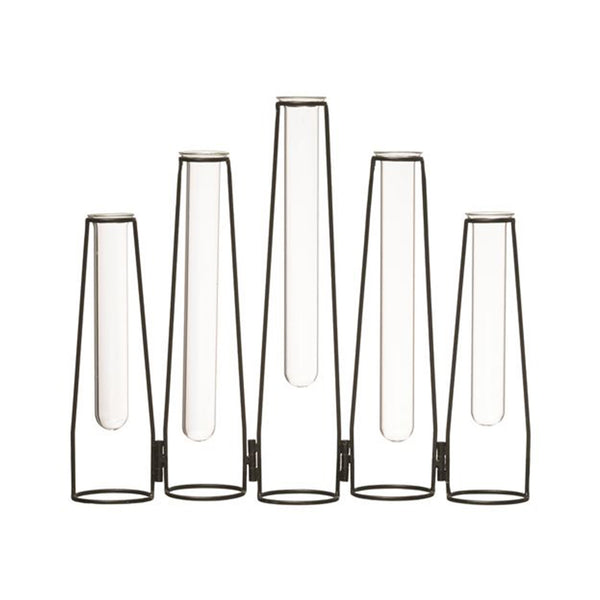 Metal & Glass Test Tubes Vase