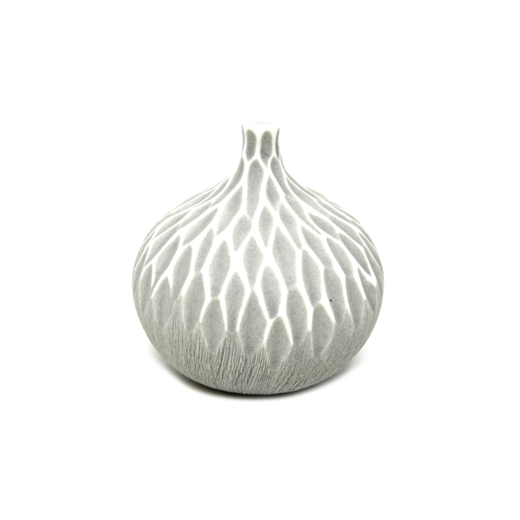 Porcelain Congo Tiny Bulb Vase - Grey Sculpted