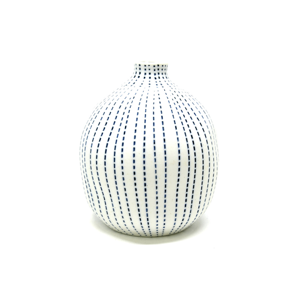 Porcelain Congo Vase -White with Blue Dashes -Indented