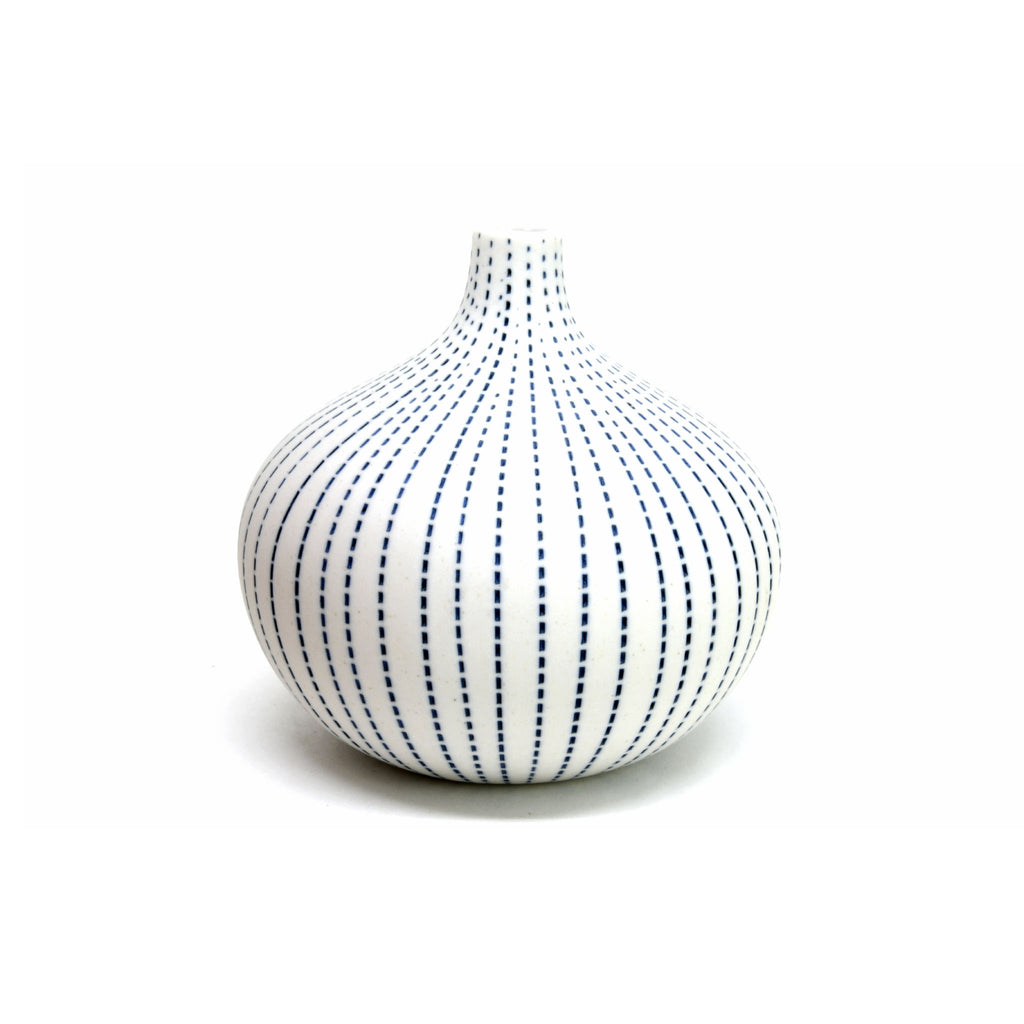 Porcelain Congo Tiny Bulb Vase - White with Blue Dashes